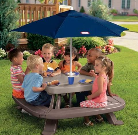 Fold 'n Store Picnic Table with Market Umbrella #451A (Less 10%)
